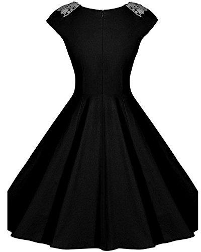 Vestido de Mujer Elegante Sin Mangas Slim Coctel Partido Vestidos de Noche Negro