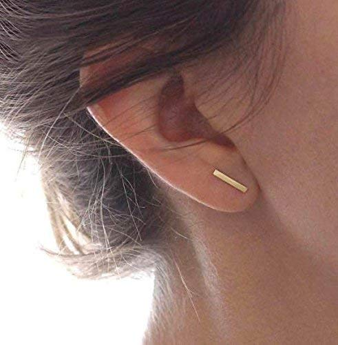 4c82e32c6 Image Unavailable. Image not available for. Color: Solid 14k Line Stud  Earrings ...