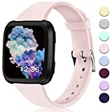 Hamile Bands Compatible for Fitbit Versa/SE/Lite, Slim Narrow Soft Silicone Watch Band Replacement Strap Wristbands for Fitbit Versa/Versa Lite Edition Smart Watch, Women Men,Small, Pink Sand