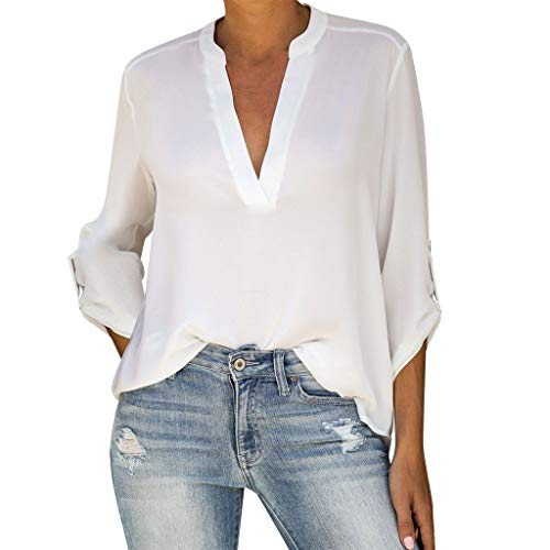 Women's Casual V Neck Cuffed Sleeves Solid Chiffon Blouse Top  LIM&Shop 3/4 Roll-up Sleeve Button Tunic Shirt Loose White (Best Golf Swing Training Aids 2019)