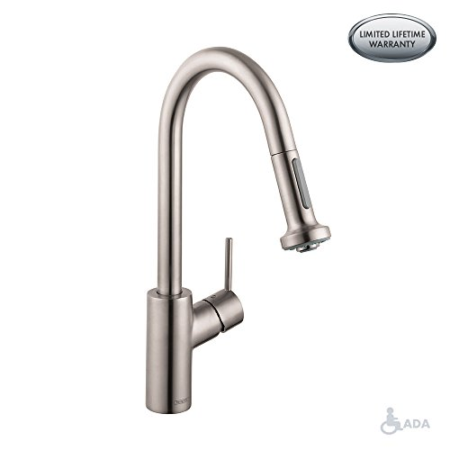 hansgrohe Talis S² Easy Install 1-Handle 16-inch Tall Stainless Steel Kitchen Faucet with Pull Down Sprayer Magnetic Docking Spray Head in Steel Optic, 14877801 - Hansgrohe Spray Faucet