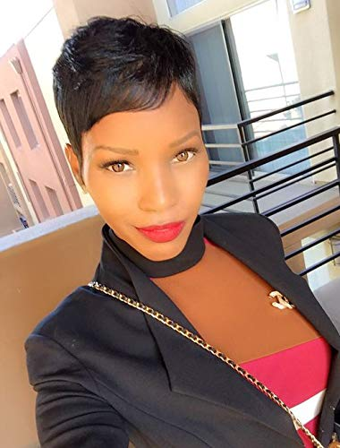 RUISENNA Short Human Hair Wigs Pixie Cut Black Wigs for Black Women Glueless Wigs for African American ¡ (Black Human Hair Wigs)
