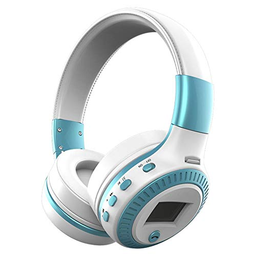 KNOSSOS Wireless Bluetooth Headset with Noise Cancelling Over-Ear Stereo Earphones - White Blue