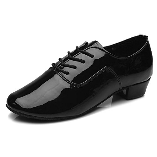 HROYL Bloch Mens Standard Latin/Jazz Dance Shoes Leather Lace-up Ballroom W-701 Black vg2owA