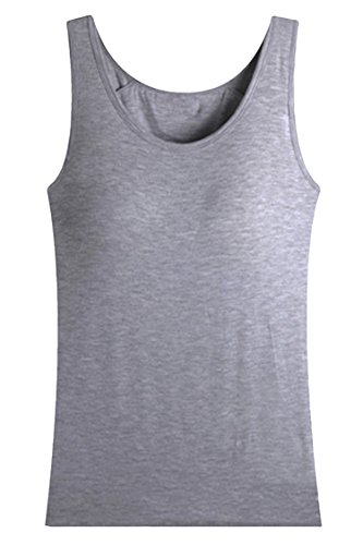 Pink Wind Women's Fitness Candy Color Vest Tank Tops Tee Shirt Grey L