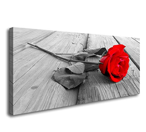 Baisuwallart-Canvas Art Red Rose Flower Wall Decor Black White Grey Split Panel Set Paintings on Canvas Wall Art for Living Room Bedroom Home Office Bathroom Decorations Ready to Hang 24X48