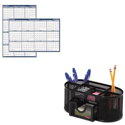 KITHOD395ROL1746466 - Value Kit - House Of Doolittle Poster Style Reversible/Erasable Academic Yearly Calendar (HOD395) and Rolodex Mesh Pencil Cup Organizer (ROL1746466)