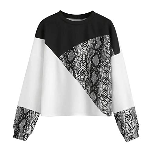 LEKODE Women T-Shirts Fashion Casual Patchwork Round Neck Outerwear(Black,S) (Best Running Shoes For Police Academy)