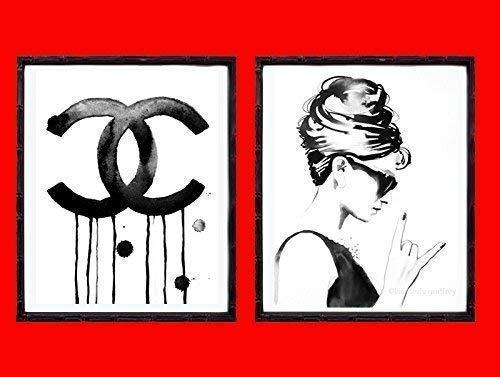 Set of 2 B&W Art Prints Fashion Icons Audrey Hepburn Rocks 1960s Illustrations Salon Decor