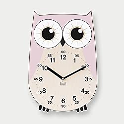 BEZIT Non-Ticking, Silent 11-Inch Wall Clock – Decorative, Modern, Clean, Cute, Kid-Friendly Design For Indoor, Office, Home, Baby Room (Baby Pink Owl)