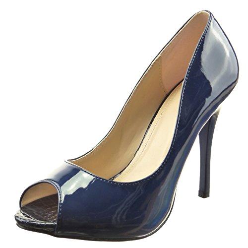 Sopily - Scarpe da Moda scarpe decollete zeppe alla caviglia donna pelle di serpente verniciato Tacco Stiletto tacco alto 11 CM - Blu