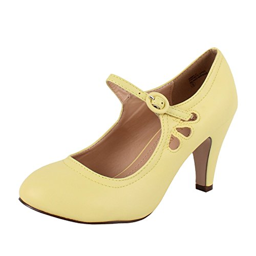 Chase & Chloe Womens Kimmy-21 Regular |Mary Jane | Mid Heel Shoes Lemon ug1nL1