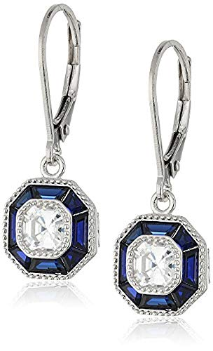 - J'ADMIRE 0.6 carats Swarovski Zirconia Clear Asscher Baguette Sapphire Leverback Earrings, Platinum Plated Sterling Silver