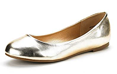 DREAM PAIRS Women's Sole Simple Gold Pu Ballerina Walking Flats Shoes - 5 M US