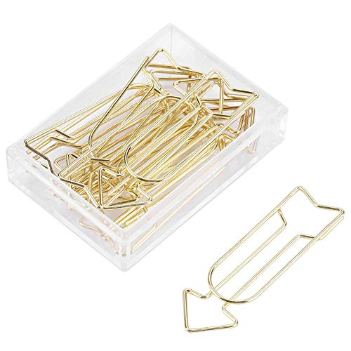 12pcs Gold Paper Clips, Metal Arrow Shaped Paper Clip