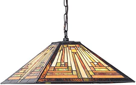 Cotoss Tiffany Dining Table Lights, 2-Light Stained Glass Kitchen Lighting, 16 Inch Wide Hanging Tiffany Style Lamp, Mission Style Stained Glass Dining Room Lights