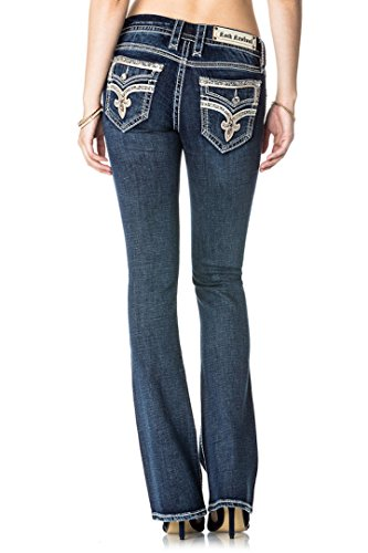 Rock Revival Willa B503 Boot Cut Metallic Gold Stitched Fluer De Lis Women's Jeans - Jeans Stitched Bootcut Gold