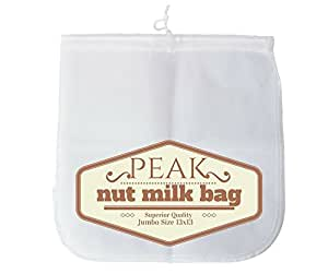Largest Nut Milk Bag Strong and Durable Fine Mesh Nylon For Juicing Almond Milk and Cold Coffee Brewing Commercial Type for Paleo, Vegan, Raw Diet Multi Purpose (Jumbo 13 x 13)