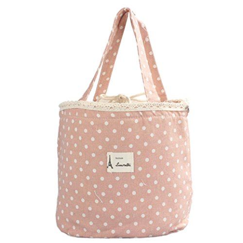 Mini Snack Tote,IEason Clearance Sale! Thermal Insulated Lunch Box Tote Cooler Bag Bento Pouch Lunch Container (Pink)