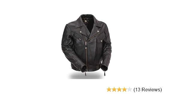 Motorcycle Street Gear Mens Black Quality 4 Pocket Leather Motorcycle Biker Classic Waistcoat 600-002 Year-End Bargain Sale