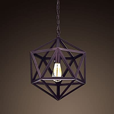 Ecopower Industrial Edison Hanging Pendant 1 Light Large Size Art Deco Cage Lamp Guard