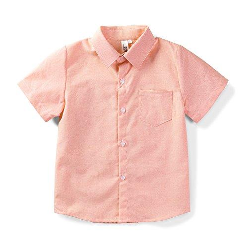 OCHENTA Little Boys Short Sleeve Button Down Oxford Shirt, Big Kids Casual Dress Tops