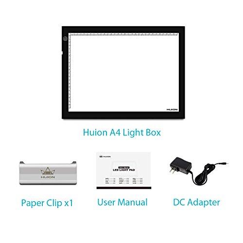 HUION A4 LED Light Pad Tracing Light Box Adjustable Brightness AC Powered – 12.2×8.27 Inch
