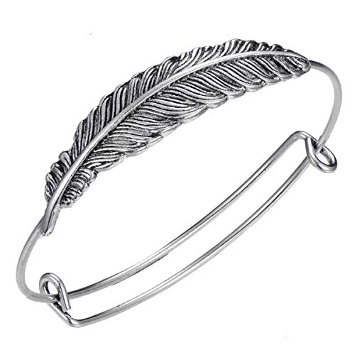 10 Pcs Vintage Adjustable Boho Feather Bangle Antique Silve Plated Expandable Wire Blank Bangle Bracelet for Women