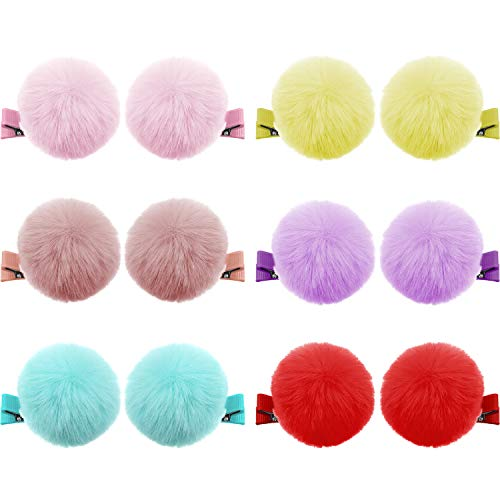 """12 Pieces Ball Pompom Hair Clips Tie 2"""" Fall Autumn Pompom Baby Hair Clip Pom Fur Clips Cute Pom Pom Hair Barrettes Colorful Fluffy Ball Fur Barrettes for Toddlers Baby Girl Women Hair Accessories"""