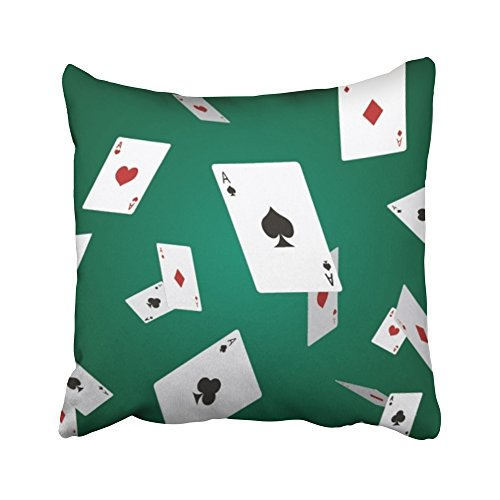 Emvency Decorative Throw Pillow Covers Cases Red Flying Falling Poker Play Casino Club Gambling Black Diamond Game 16x16 inches Pillowcases Case Cover Cushion Two Sided