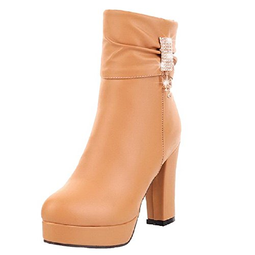 Allhqfashion Women's Low-top Zipper Soft Material High-Heels Closed Round Toe Boots Brown Xs08yxQ