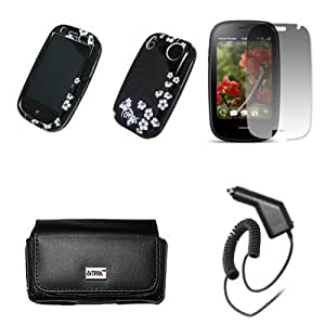 EMPIRE Black Leather Case Pouch with Belt Clip and Belt Loops + Nite Flowers Design Snap-On Cover Case + Screen Protector + Car Charger (CLA) for Palm Pre 2