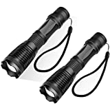 [2 PACK] Newdora Ultra Bright LED Taclight Water Resistant Flash Light with Adjustable Focus and 5 Light Modes for Camping Hiking Emergency(Battery not included)