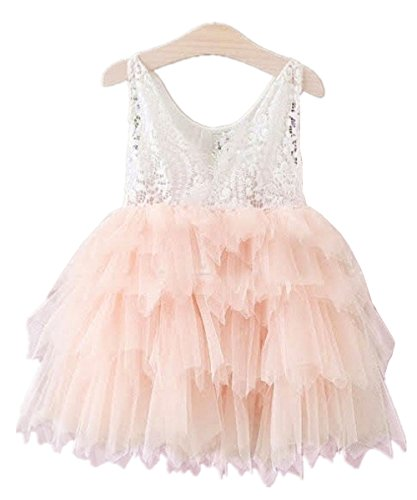 Baby girl's princess party long sleeve dress pink - 6