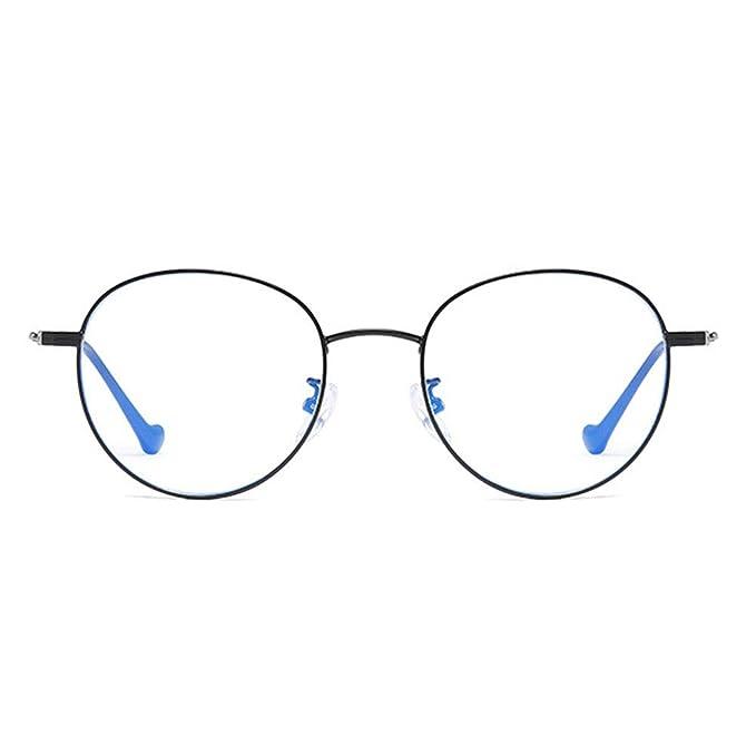 Anti-Blu-Ray Glasses Round Literary Personality Unisex Flat Mirror No Degree Black Gold