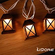 LIDORE Set of 10 Warm White Glow Bronze Metal House Shaped Lantern Plug-in String Light-For indoor/outdoor