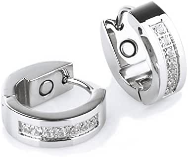 Woophen Fashion and Beautiful Silvering Rhinestones Hoop Stud Earrings & Nice Gifts For Women