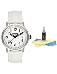 Traser T 4102 Men's Classic Basic White Leather Strap Watch with 30ml Ultimate Watch Cleaning Kit