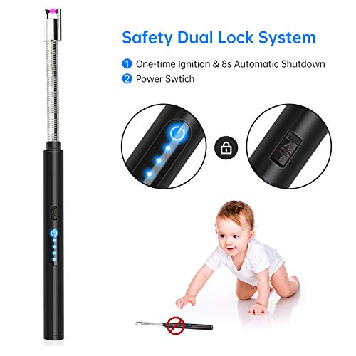 AMIGIK Candle Lighter, Touchscreen Electric Lighter Long Reach, Rechargeable Arc Lighters with USB Cable LED Screen, Windproof Lighters for Gas Stove BBQ Camping, Black
