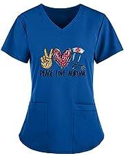 Msaikric Scrubs Tops Women Prints Heart Pattern Nurse Tops Work Uniform V-Neck Short Sleeve Nursing Shirt Medical Uniforms