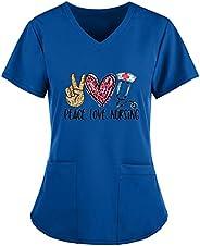 Msaikric Scrubs Tops Women Prints Heart Pattern Nurse Tops Work Uniform V-Neck Short Sleeve Nursing Shirt Medi