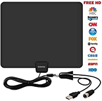 HDTV Antenna,Sobetter 50 Mile Range Indoor TV Antenna with Detachable Amplifier Signal Booster for TV Receiver, USB power supply,13.2ft Coax Cable,support 1080p,4K,Upgraded Version Better Reception