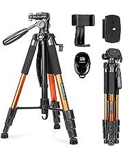 Camera Statief, Sunfoto 63 Inch Lichtgewicht Professionele DSLR SLR Reis statief met 2 Snelkoppelingsplaten en een Telefoonhouder voor iPhone & Android Smartphone – Oranje