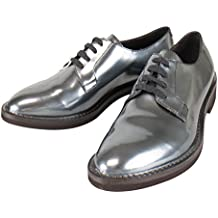 Brunello Cucinelli Gray Patent Leather Oxford Shoes Size 37/7