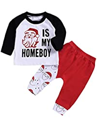 Baby Boys Clothes Newborn Baby Santa Gift Long Sleeve T-Shirt Top+Red Pant Outfit Set