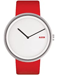 Alessi Unisex AL13002 Out Time Red Leather Strap Watch