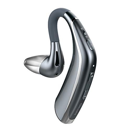 Glazata Bluetooth Headset with Super Long 30 hrs Talking and Noise Cancelling Mic Wireless Earbuds Earpiece Handsfree for iPhone Samsung Cell Phone, Driver/Trucker (Grey)