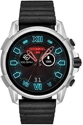Diesel Mens Diesel ON Full Guard 2.5 Touchscreen Smartwatch Stainless Steel Black Silicone Band,Model (DZT2008)