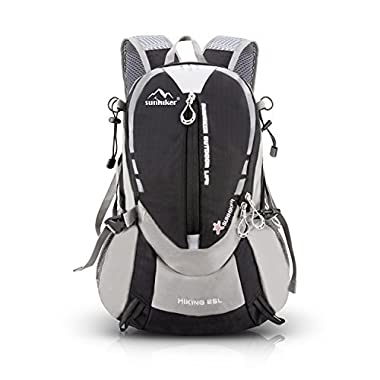 Hiking Cycling Backpack, Sunhiker Sports Outdoor Backpack Bag Running Camping Backpack Water Resistant Lightweight SMALL Daypack 25L M441 (Black)