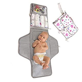 Baby Portable Changing Pad | Lightweight Travel Diaper Station Kit with Waterproof and Cushioned Pad | Foldable Pad with Pockets | Changing Organizer Bag for Toddlers Infants & Newborns | White